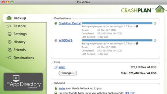 Возможности Crashplan - автоматический бэкап данных с iMac