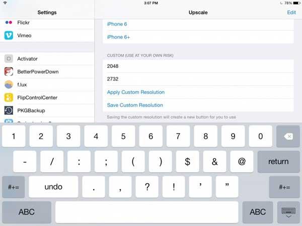 сделать разрешение экрана iPad Air как у нового iPad Pro?