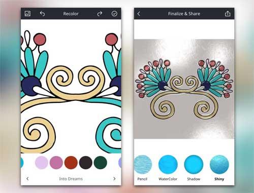 recolor - антистрессовая раскраска для взрослых в iOS-версии