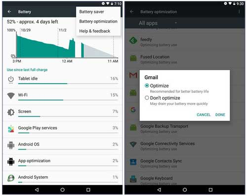 Как отключить функцию Doze для определенных приложений в Android 6.0