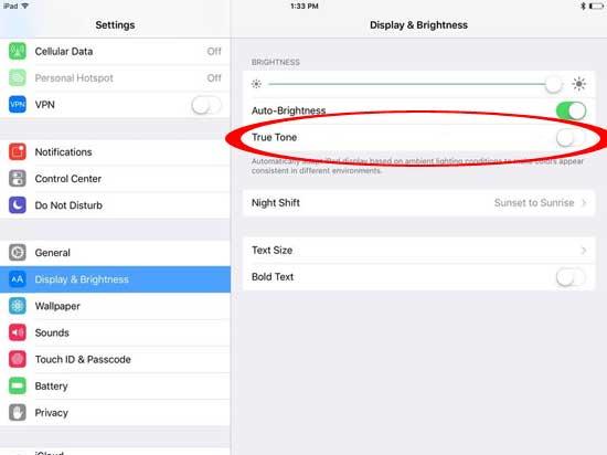 Как отключить функцию True Tone в iPad Pro [видео]