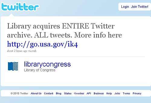 Библиотеки Конгресса больше не может хранить весь Twitter