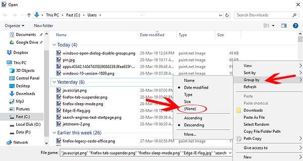 Группировка файлов диалоговом окне Windows 10: как отключить