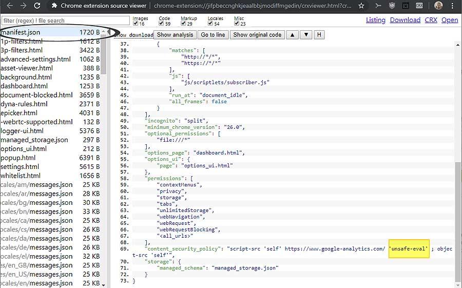 unsafe-eval в новых и в установленных расширениях Chrome: как найти