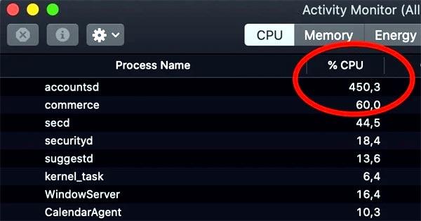 accountsd - что делать, когда он перегружает процессор Mac-а