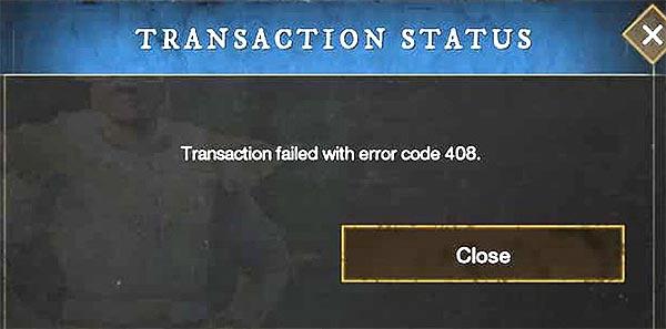 проблемы New World - Transaction failed (код ошибки 408)