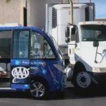 В Лас-Вегасе беспилотный автобус угодил в ДТП в первом же рейсе [видео]